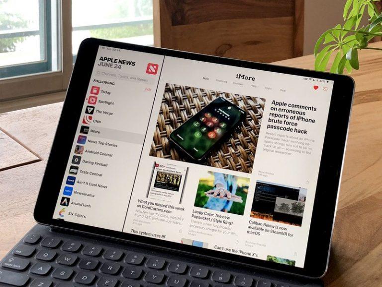 Muestra de la aplicación de Noticias en un iPad